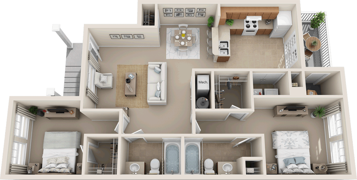 2A2, 2D2 - Two Bedroom / Two Bath - 1,095 Sq. Ft.*